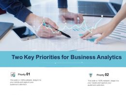 Two Key Priorities For Business Analytics