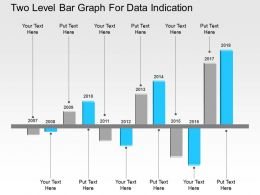 Two Level Bar Graph For Data Indication Flat Powerpoint Design