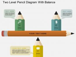 Two Level Pencil Diagram With Balance Flat Powerpoint Design