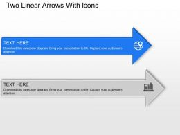 Two Linear Arrows With Icons Powerpoint Template Slide
