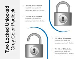 Two Locked Unlocked Grey Color Padlock