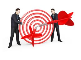 Two Man With 3D Target And Dart Showing Business Target Stock Photo