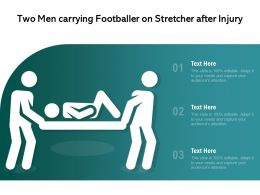 Two Men Carrying Footballer On Stretcher After Injury