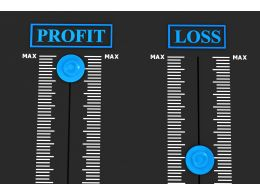 Two Meter Graphic For Profit And Loss Calculation Stock Photo