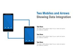 Two Mobiles And Arrows Showing Data Integration
