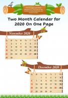 Two Month Calendar For 2020 On One Page Presentation Report Infographic PPT PDF Document