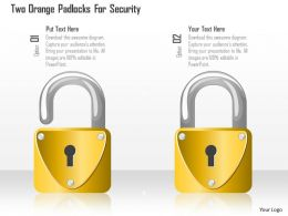 Two Orange Padlocks For Security Ppt Slides