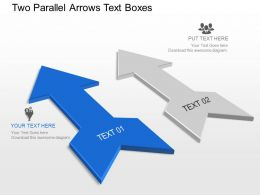 Two Parallel Arrows Text Boxes Powerpoint Template Slide