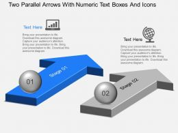 Two Parallel Arrows With Numeric Text Boxes And Icons Powerpoint Template Slide