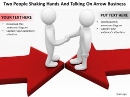 Two People Shaking Hands And Talking On Arrow Business Ppt Graphics Icons Powerpoint
