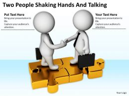 Two People Shaking Hands And Talking Ppt Graphics Icons Powerpoint