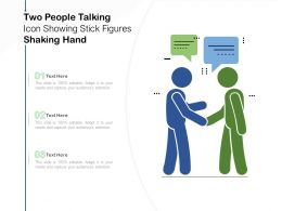 Two People Talking Icon Showing Stick Figures Shaking Hand