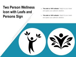 Two Person Wellness Icon With Leafs And Persons Sign