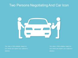Two Persons Negotiating And Car Icon