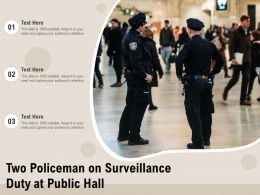 Two Policeman On Surveillance Duty At Public Hall