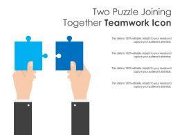 Two Puzzle Joining Together Teamwork Icon