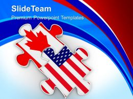 Two Puzzle Pieces Us Flag Theme Powerpoint Templates Ppt Backgrounds For Slides 0213