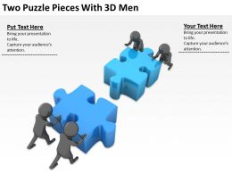 Two Puzzle Pieces With 3D Men Ppt Graphics Icons Powerpoint