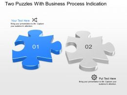 Two Puzzles With Business Process Indication Powerpoint Template Slide