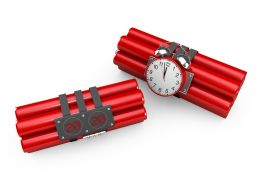Two Red Colored Time Bomb Stock Photo