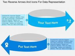 Two Reverse Arrows And Icons For Data Representation Flat Powerpoint Design