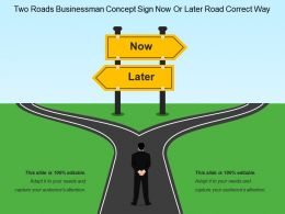 Two Roads Businessman Concept Sign Now Or Later Road Correct Way