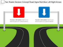 Two Roads Decision Concept Road Signs Red Blue Left Right Arrows