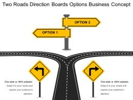 Two Roads Direction Boards Options Business Concept