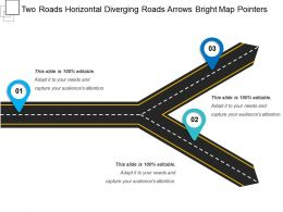 two_roads_horizontal_diverging_roads_arrows_bright_map_pointers_Slide01