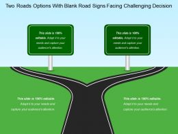 Two Roads Options With Blank Road Signs Facing Challenging Decision