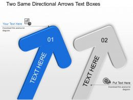 Two Same Directional Arrows Text Boxes Powerpoint Template Slide