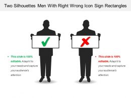 Two Silhouettes Men With Right Wrong Icon Sign Rectangles