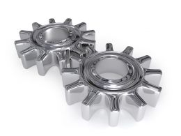 Two Silver Colored Gears For Process Control Stock Photo
