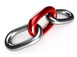 Two Silver Links With One Red In The Middle Security Stock Photo