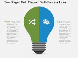 Two Staged Bulb Diagram With Process Icons Flat Powerpoint Desgin