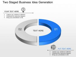 Two Staged Business Idea Generation Powerpoint Template Slide