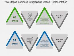 Two Staged Business Infographics Option Representation Flat Powerpoint Design
