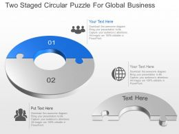 Two Staged Circular Puzzle For Global Business Powerpoint Template Slide