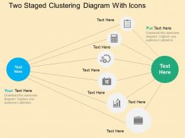 Two Staged Clustering Diagram With Icons Flat Powerpoint Design