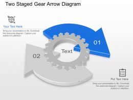 Two Staged Gear Arrow Diagram Powerpoint Template Slide