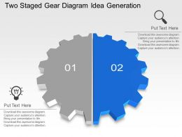 Two Staged Gear Diagram Idea Generation Powerpoint Template Slide