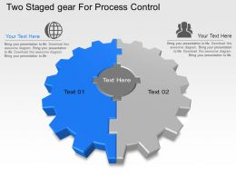 Two Staged Gear For Process Control Powerpoint Template Slide