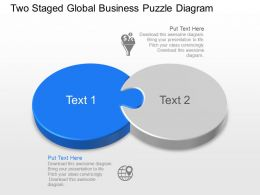 Two Staged Global Business Puzzle Diagram Powerpoint Template Slide