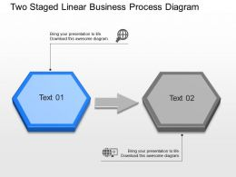 Two Staged Linear Business Process Diagram Powerpoint Template Slide