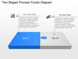 Two Staged Process Puzzle Diagram Powerpoint Template Slide