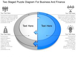 Two Staged Puzzle Diagram For Business And Finance Powerpoint Template Slide