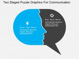 Two Staged Puzzle Graphics For Communication Flat Powerpoint Desgin