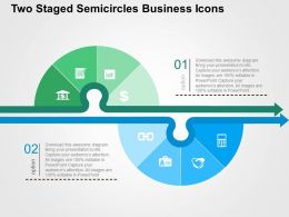 Two Staged Semicircles Business Icons Flat Powerpoint Design