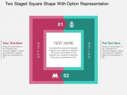 Two Staged Square Shape With Option Representation Flat Powerpoint Design