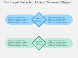 Two Staged Vision And Mission Statement Diagram Flat Powerpoint Design